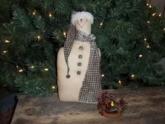 Primitive Handmade Snowman Homespun Hat Scarf Jingle Bell Country by thefarmladyscupboard on Etsy