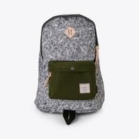 Printed cordura backpack with leather details. Backpack measures wide, high and deep. Men's Backpacks, Herschel Heritage Backpack, Distressed Leather, Chameleon, Paisley, Grey, Bags, Accessories, Delivery