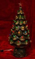 """Vintage 17"""" Ceramic Frosted Christmas Tree Holly Decorated Base Lights Works Box  #Christmas #vintageChristmas #ceramictree"""