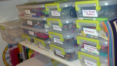 Kid's Art Supply Organization - use stackable labled containers (can find these at target) with lids to tore art supplies in kitchen cupboard above kids table