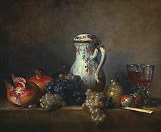 Chardin, Raisins et Grenades, 1699-1779, natures mortes, peintures de genre, pastels