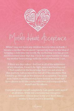 Affirmation - Mother Heart Acceptance for Women unable to raise children here on Earth by CarlyMarie: