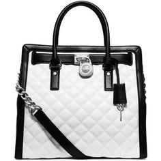Pre-owned Michael Kors Hamilton Quilted North-south Black And White... ($210) ❤ liked on Polyvore featuring bags, handbags, tote bags, black and white, pocket tote, michael kors, quilted chain purse, handbags totes and michael kors tote