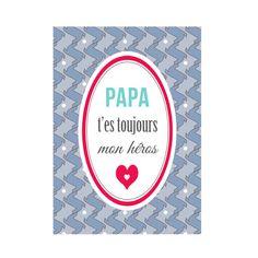 Carte postale: #Papa t'es toujours mon #héros - DC de Dodo & Cath sur DaWanda.com