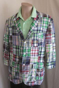 POLO RALPH LAUREN Patchwork Plaid Madras Multi-Color Sport Coat Blazer L Large #PoloRalphLauren #ThreeButton