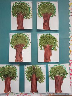 Finger Paint and Tissue Paper Trees.  These fun trees are simple enough to create but are also great for working on fine motor skills. Students use their fingers to create the trunk of the tree and then they had to squish tissue paper into small balls to glue on for the leaves.