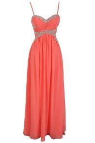 Elysian Dream Embellished Chiffon Designer Dress in Coral