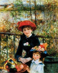 Pierre Auguste Renoir Two Sisters on the Terrace painting is shipped worldwide,including stretched canvas and framed art.This Pierre Auguste Renoir Two Sisters on the Terrace painting is available at custom size. Pierre Auguste Renoir, Jean Renoir, Edouard Manet, Claude Monet, August Renoir, Renoir Paintings, Oil Paintings, Two Sisters, Art History