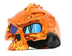 MASEI ORANGE CHROME SKULL 489 MOTORCYCLE CHOPPER HELMET FOR HARLEY DAVIDSON BIKER  - sales@maseihelmets.com