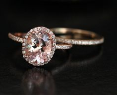 Rose Gold Morganite Engagement Ring and Wedding by Twoperidotbirds