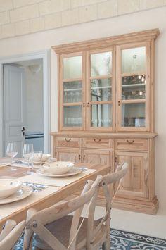 Credenza + vetrina componibili in legno di paulownia grigio chiaro ...