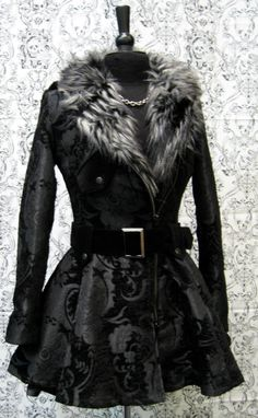 Goth brocade motorcycle jacket with faux fur