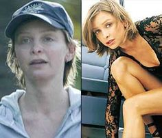 Celebrities With & Without Makeup - Calista Flockhart Prominente mit und ohne Make-up - Calista Floc Celebrities Then And Now, Famous Celebrities, Famous Women, Famous People, Actress Without Makeup, Celebs Without Makeup, Power Of Makeup, Beauty Makeup, Glamorous Makeup