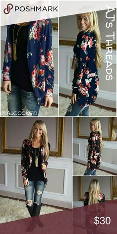 ⚘Just In⚘Floral Print Cardigan Cute open front floral print cardigan. Perfect to complete any look, light and silky soft material perfect for spring, summer and fall. Material: Polyester Color: Blue Bundle and save 10% Free gift with purchase over $20 Sweaters Cardigans