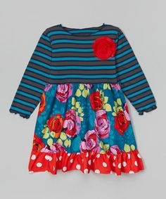 Take a look at the Blue & Red Rose Garden Babydoll Dress - Toddler & Girls on #zulily today!