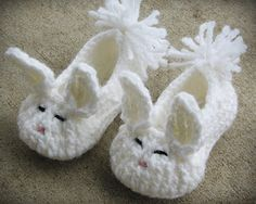 Crocheted Bunny Shoes.