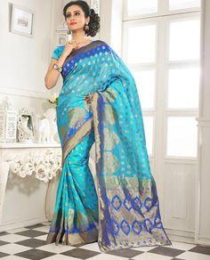 Sky Blue Banarasi Silk Saree With Blouse 64064