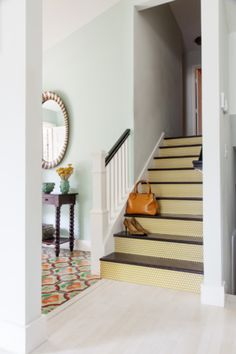 DIY Stair Riser Decals featured in the Mustard Yellow Polka Dot from the Sally Bennett Signature Collection