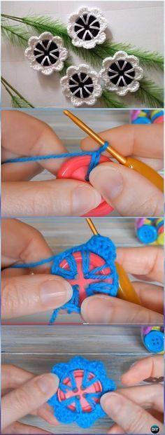 Crochet Button Flower Free Pattern - 8 petals [Video]