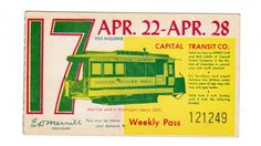 Capital Transit Weekly Pass with U.S. Mail streetcar illustration (1951).