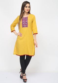 Be the #style diva at your office wearing this Yellow Color Cotton #DesignerKurti featuring a contrasting lace embellished yoke
