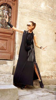Купить Платье Mix - черный, платье макси, платье в пол, макси платье, стильное платье