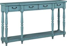 Sarah Blue Accent Console (also comes in cream and a medium gray) 26681189  Rooms To Go  60wx12x34