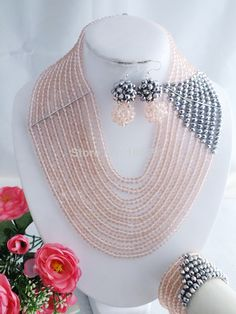 A-1259 Marvelous African Beads Wedding Jewelry Set Light Pink African Costume Jewelry Set 2014 NEW $62.09