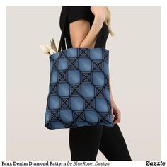Faux Denim Diamond Pattern Tote Bag Tote Pattern, Yoga Accessories, Printed Tote Bags, Artwork Design, Edge Design, Diamond Pattern, Clutches, Shoulder Bag, Denim