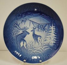 "Bing & Grondahl 1980 JULE AFTEN Collector Plate ""CHRISTMAS IN THE WOODS"" Boxed"