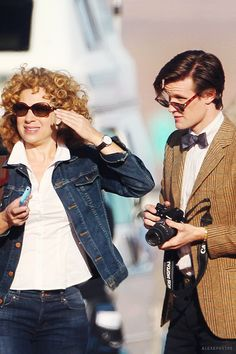 "River and Eleven on an adventure maybe being touristy on their honeymoon somewhere. ""Husband, put down that camera"" ""no I love taking pictures of my beautiful wife"" ""oh you embarrass me!""<------ pinning for the comment"