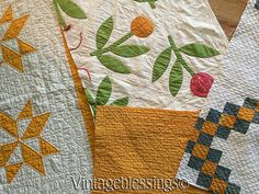 Inspirational-Antique-CUTTER-QUILT-LOT-The-Cheddar-of-1860-Applique-Patchwork, eBay, vintageblessings