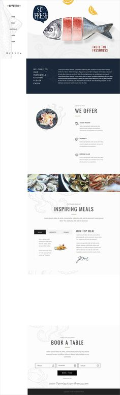 Buy Appetito - Fast Food Restaurants & Cafés Theme by Mikado-Themes on ThemeForest. Welcome to Appetito, an exquisite restaurant WordPress theme that is sure to satisfy everyone's taste buds! Blog Website Design, Blog Design, Web Design Inspiration, Ppt Design, Design Ideas, Restaurant Website, Seafood Restaurant, Asian Restaurants, Design Web