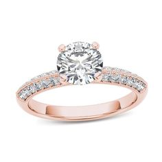 3/4+CT.+T.W.+Diamond+Vintage-Style+Engagement+Ring+in+14K+Rose+Gold