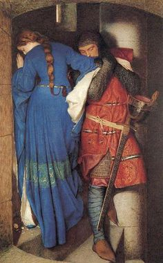 Pre Raphaelite Art: Meeting on the Turret Stairs, water color by Frederick William Burton. This is one of my favorite works of art. The painting itself is beautiful.then if you find out the backstory looking at it brings a tear to my eye Romantic Paintings, Beautiful Paintings, Chef D Oeuvre, Oeuvre D'art, Tristan Et Iseult, Tristan Isolde, Frederick William, Frederick Leighton, Art History
