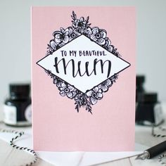 'My Beautiful Mum' Birthday And Mother's Day Card by Betty Etiquette, the perfect gift for Explore more unique gifts in our curated marketplace. Happy Birthday Mum Cards, Birthday Cards For Mother, Birthday Cards For Mom, Mother Birthday Gifts, Bday Cards, Mothers Day Cards, Diy Birthday, Birthday Wishes, Birthday Ideas