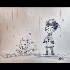 Raining with cats and dogs! #rain #cats #dogs #dailydrawing #angelasongart