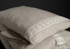 Linen Pillow Case decorated with linen lace. Natural Gray Linen Cotton Pillow Shams, Linen Pillow Covers. Linen Cushion Cover Sand Grey pillowcase
