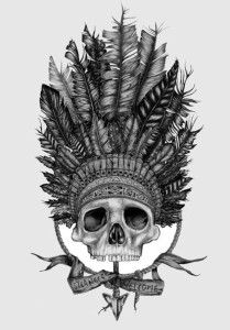 skull with feather headdress