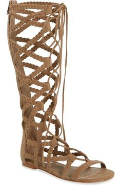Steve Madden 'Sammson' Braided Lace-Up Back Zip Tall Flat Gladiator Sandal synthetic sand, black 15sh sz7.5 89.95 4/16