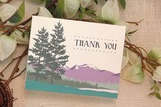 Colorado Rocky Mountains with Pine Trees Folded Wedding Thank You Card // A2…