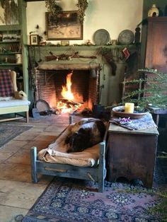 Use prairie traveler cot design for a dog bed base! Primitive Homes, Primitive Fireplace, Cozy Fireplace, Inglenook Fireplace, Primitive Country, Primitive Decor, Cottage Living, Cottage Style, Do It Yourself Furniture