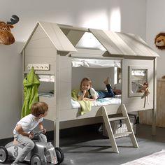 Charlotte Kids Treehouse Bed in Grey & Beige – Tree House Ideas Girls Bunk Beds, Kid Beds, Girl Room, Girls Bedroom, Bedroom Ideas, Childrens Beds, Kids Room Design, Grey And Beige, Nursery Furniture