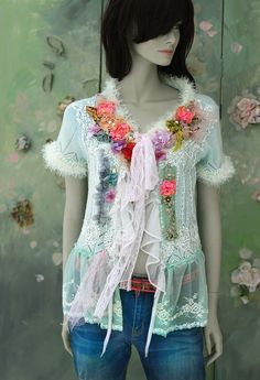 Winter boudoir cardi-bohemian romantic , altered couture, embroidered and beaded details,old laces