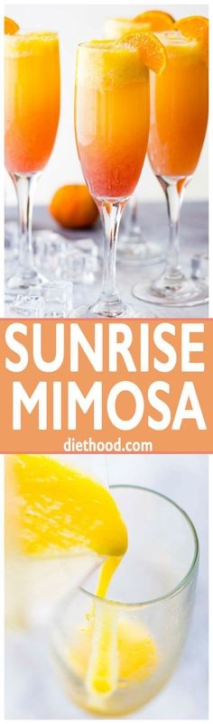 Sunrise Mimosa Recipe - A gorgeous and delicious twist to the classic mimosas prepared with mangos, orange juice, prosecco, and liqueur.