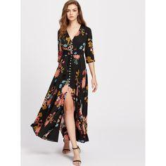 Color: Multicolor Style: Vacation Material: 100% Rayon Neckline: V Neck Sleeve Length: Half Sleeve Silhouette: Shift Dresses Length: Maxi Decoration: Button, Fringe Pattern Type: Floral Shoulder (cm): XS: 34.5 cm, S: 35.5 cm, M: 36.5 cm, L: 37.5 cm, XL: 38.5 cm Bust (cm): XS: 80 cm, S: 84 cm, M: 88 cm, L: 92 cm, XL: 96