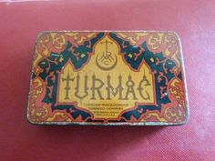 Rare-ancienne-boite-de-cigarettes-en-tole-lithographie-TURMAC-Orange-GRD-modele