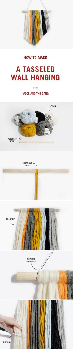 How to make a tassle wall hanging with Wool and the Gang.