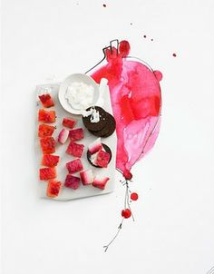 watercolor food styling