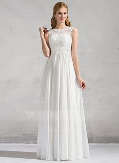 A-Line/Princess Scoop Neck Floor-Length Beading Sequins Zipper Up Cap Straps Sleeveless Beach General Plus No Spring Summer Fall Ivory Chiffon Lace Wedding Dress